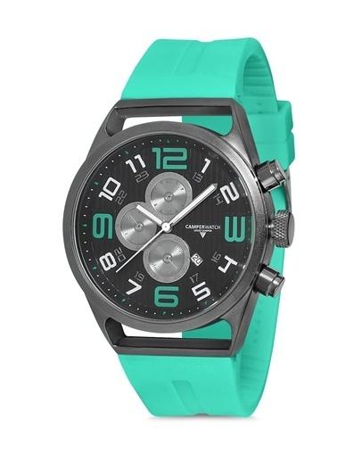 Camper Watch Camper Watch 42 Mm.  Silikon Kordon Erkek Analog Kol Saati Yeşil